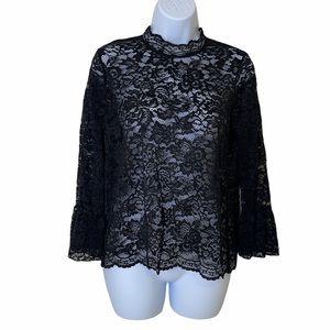 Tempted Women's Mock Neck Black Lace Top